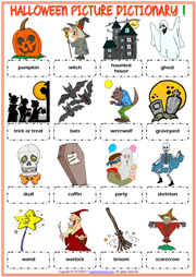 halloween esl printable picture dictionary for kids