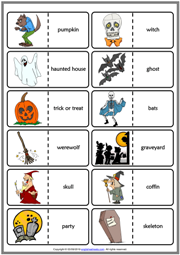 Halloween ESL Printable Dominoes Game For Kids