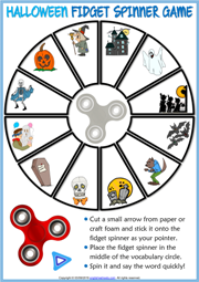 Halloween ESL Printable Fidget Spinner Game For Kids