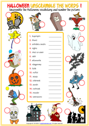 Halloween ESL Unscramble the Words Worksheets For Kids