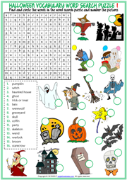 photo about Halloween Word Search Puzzle Printable titled Halloween ESL Printable Vocabulary Worksheets