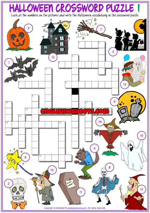 graphic regarding Halloween Crossword Puzzle Printable named Halloween ESL Printable Crossword Puzzle Worksheets