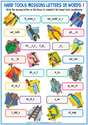 Hand Tools Missing Letters In Words Exercise Worksheets