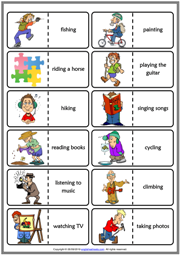 Hobbies ESL Printable Dominoes Game For Kids