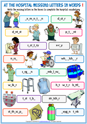 Hospital Vocabulary Missing Letters In Words Worksheets