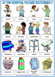 Hospital Vocabulary ESL Picture Dictionary Worksheets