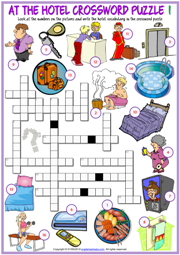 Hotel Vocabulary ESL Crossword Puzzle Worksheets For Kids