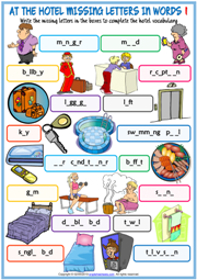 Hotel Vocabulary ESL Missing Letters In Words Worksheets