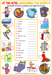 Hotel Vocabulary ESL Unscramble the Words Worksheets