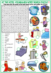 Hotel Vocabulary ESL Word Search Puzzle Worksheets