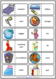 Hotel Vocabulary ESL Printable Dominoes Game For Kids