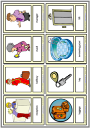 Hotel Vocabulary ESL Printable Learning Cards For Kids