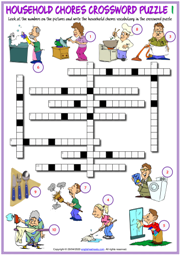 Household Chores ESL Crossword Puzzle Worksheet for Kids