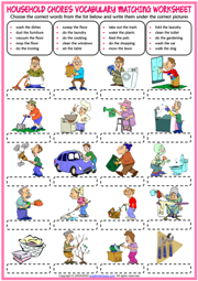 Household Chores ESL Matching Exercise Worksheet For Kids
