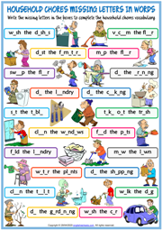 Household Chores ESL Missing Letters In Words Worksheet