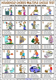 Household Chores ESL Printable Multiple Choice Test For Kids