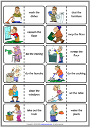 Household Chores ESL Printable Dominoes Game For Kids