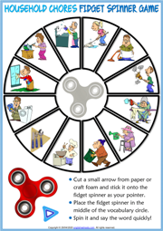 Household Chores ESL Printable Fidget Spinner Game