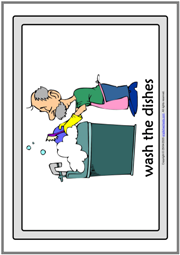 Household Chores ESL Printable Flashcards With Words
