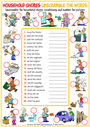 Household Chores ESL Unscramble the Words Worksheet