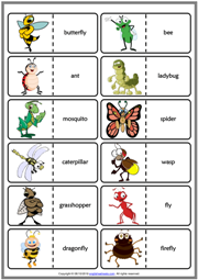 Insects ESL Printable Dominoes Game For Kids