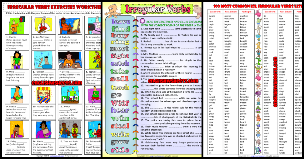 Irregular Verbs ESL Printable Worksheets And Exercises