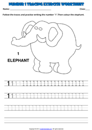 Worksheets Kindergarten Exercise kindergarten numbers printable worksheets and exercises number 1 tracing exercise maths worksheet