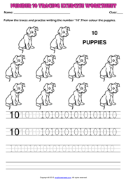 number 10 kindergarten tracing exercise maths worksheet - Activity Worksheet For Kindergarten