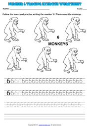 Worksheets Kindergarten Exercise kindergarten numbers printable worksheets and exercises number 6 tracing exercise maths worksheet
