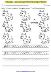 Number 9 Kindergarten Tracing Exercise Maths Worksheet