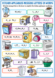 Kitchen Appliances ESL Missing Letters In Words Worksheet