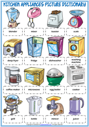 Kitchen Appliances ESL Picture Dictionary Worksheet For Kids
