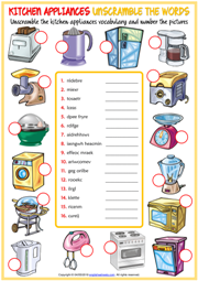Kitchen Appliances ESL Unscramble the Words Worksheet