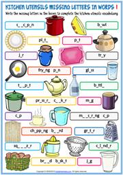Kitchen Utensils Esl Printable Vocabulary Worksheets