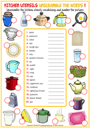 Kitchen Utensils ESL Printable Vocabulary Worksheets