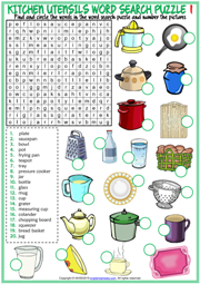 Kitchen Utensils ESL Word Search Puzzle Worksheets