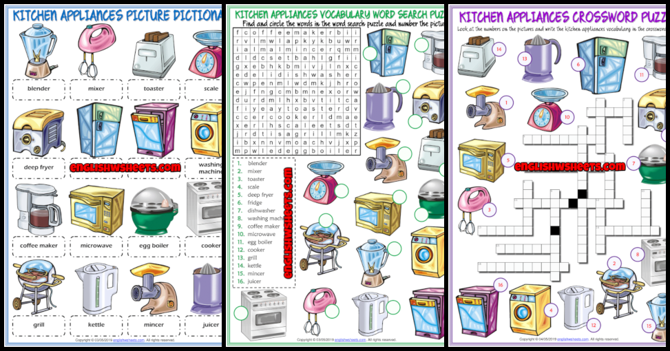Kitchen Appliances Esl Printable Worksheets And Exercises