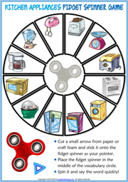 Kitchen Appliances ESL Printable Fidget Spinner Game