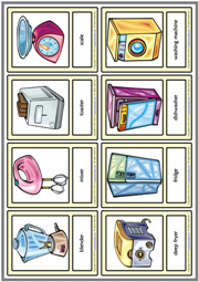 Kitchen Appliances ESL Printable Vocabulary Learning Cards