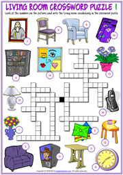 Living Room Objects ESL Crossword Puzzle Worksheets