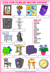 Living Room Objects ESL Matching Exercise Worksheets