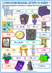 Living Room Objects Missing Letters In Words Worksheets
