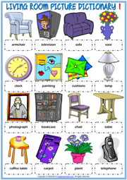 Living Room ESL Printable Picture Dictionary Worksheets