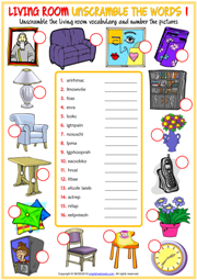 Living Room Objects ESL Unscramble the Words Worksheets
