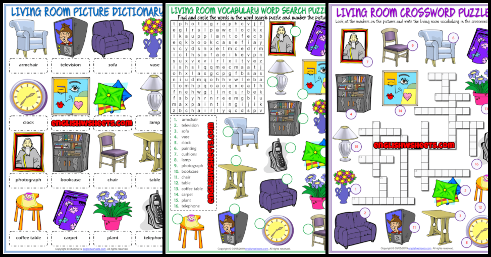Living Room Objects Esl Vocabulary Worksheets