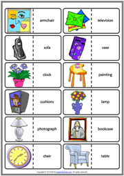 Living Room Objects ESL Printable Dominoes Game For Kids