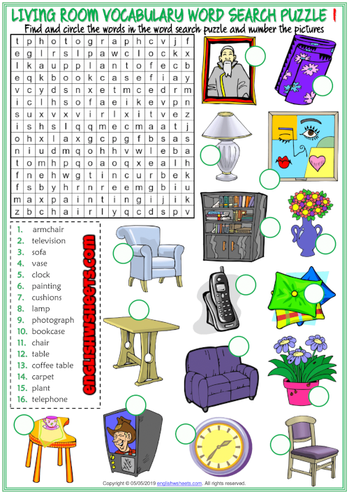 Living Room Objects ESL Word Search Puzzle Worksheets