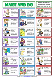 Printables Make Worksheets make and do esl printable worksheets exercises collocation grammar exercise worksheet