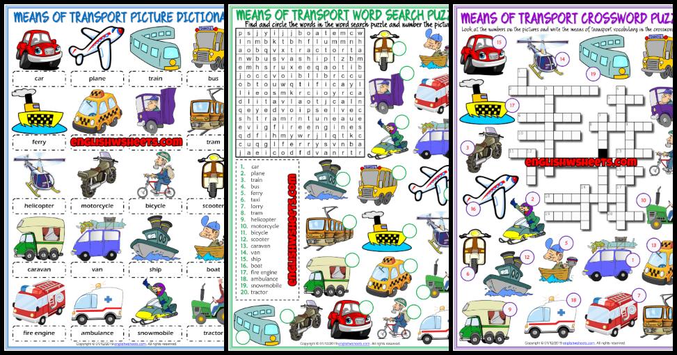 Means Of Transport ESL Vocabulary Worksheets
