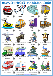 Means of Transport ESL Picture Dictionary Worksheet For Kids